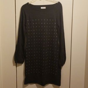 Thin sweater dress with rhinestones